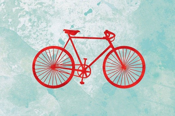 Bicycle Art Print - (red and turquoise) - 24x36 Fine Art Print