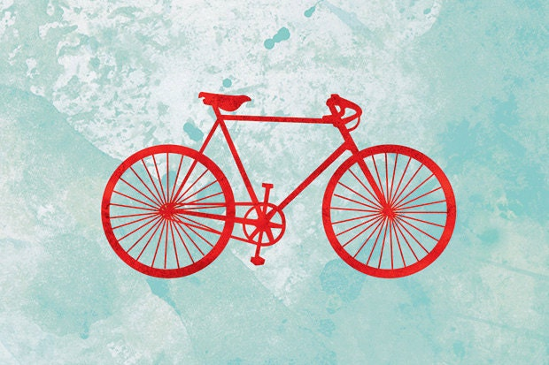 Bicycle Art Print Red And Turquoise 24x36 Fine Art Print