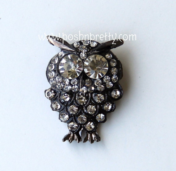 TWO 1 inch Crystal OWL Slider - for 3/8 ribbon