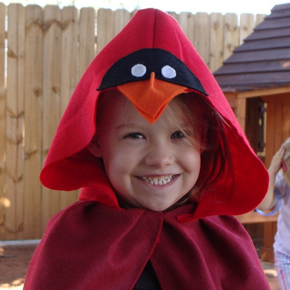 Cardinal Red Bird Halloween Costume Cape By