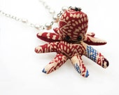 Red White and Blue Octopus Stuffed Animal Necklace with Acrylic Pearl Accented Chain