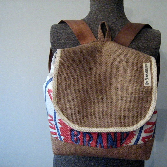 Recycled Burlap Coffee Bean/Feed Sack Backpack : Aroostook