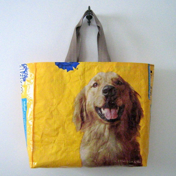 Recycled Dog Food Bag Tote : Golden Retriever