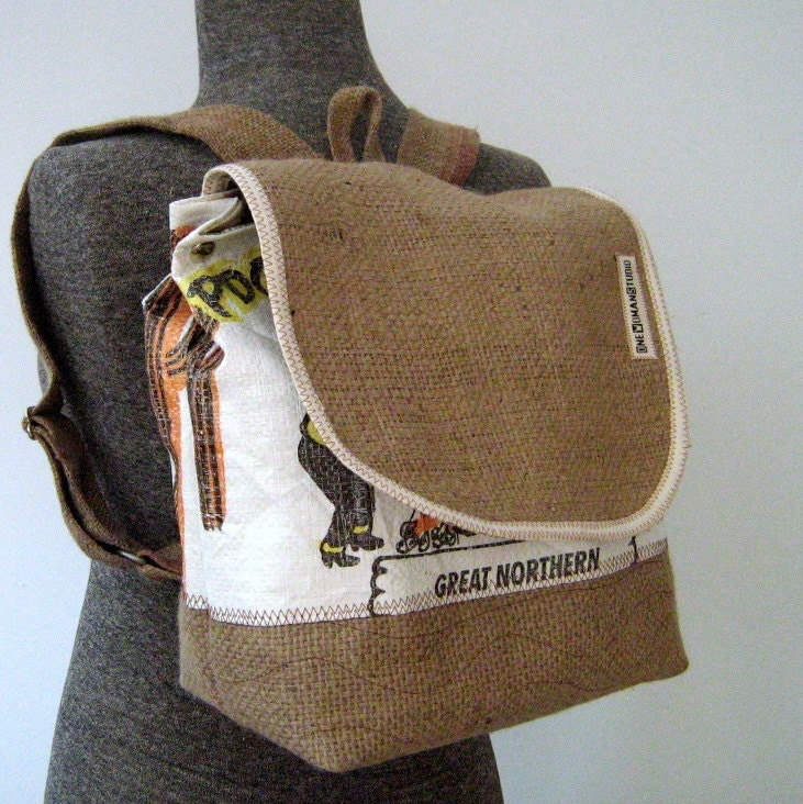 Recycled Burlap Coffee Bean Sack Backpack Puncher