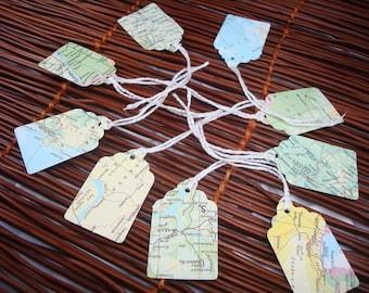 Vitange Map Tags -  Scalloped Edge