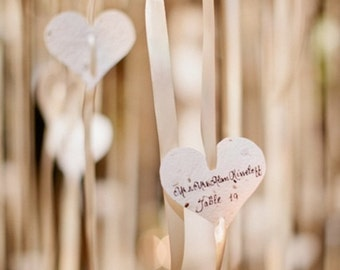 Seed Paper Heart Tag/Favors - 50 count - 3 inch