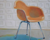 Eames Molded Plastic Armchair - 5 x 5 - Archival Giclee Print - reproduction of my original painting