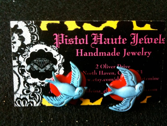 Bettie Page Flash Tattoo Style Flying Sparrow and Heart Stud Earrings