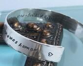 Sterling Silver Handstamped Cuff Bracelet- Handprint Font