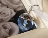 SOMETHING BLUE- Custom Hand stamped wedding bridal bouquet charm- Fits Large Hole Charm Bracelets