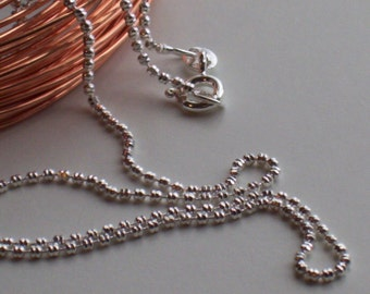 UPGRADE:  Sterling silver faceted beaded ball chain - 16, 18, 20 inch length