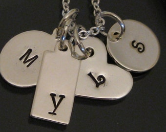 4 small Initial Tag Hand Stamped Mother's Necklace