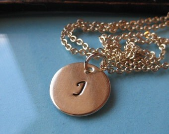 Initial Disc In Gold single tag necklace