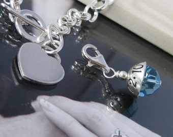 SOMETHING BLUE- Hand stamped Mini Wedding Charm AND Sterling Silver Charm Bracelet