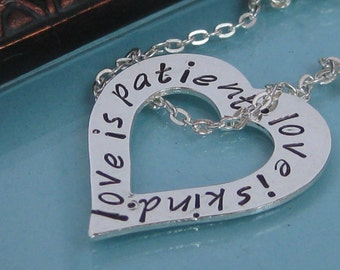 Love is Patient - 1 Corinthians 13 stamped floating heart necklace