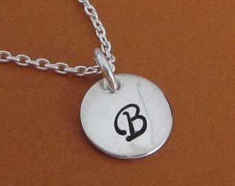 1 Small Tag  Hand Stamped Single Initial Necklace- Children's or Adult version