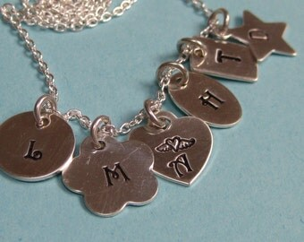 6 Tiny Initial Tag Hand Stamped Mother's Necklace