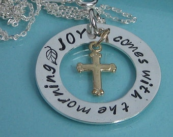 JOY Comes With The Morning handstamped pendant necklace-mixed metal
