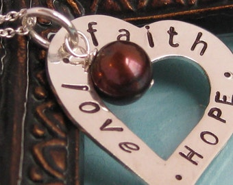 Faith, Hope, Love sterling silver Valentine's heart necklace