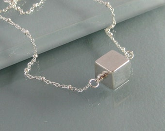 Simple sterling square with sterling, gold-filled, or rose gold-filled chain necklace - YOU CHOOSE COLOR
