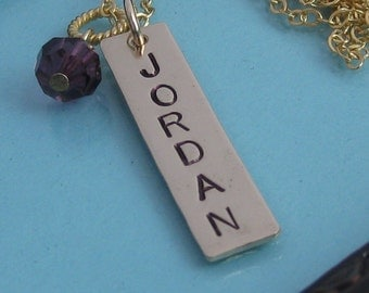 Gold Simple Stamped Name Bar Pendant Necklace with birthstone dangle