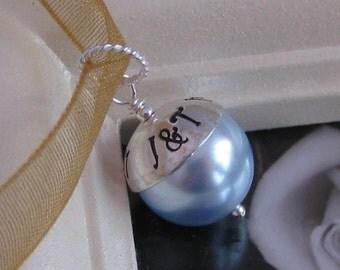 SOMETHING BLUE- Custom Handstamped wedding bridal bouquet charm- Fits Large Hole Charm bracelet