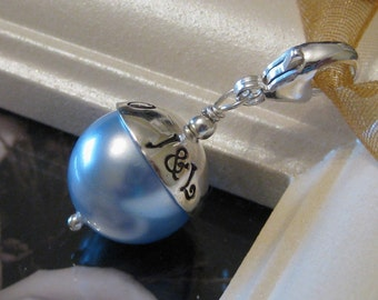 SOMETHING BLUE- Handstamped wedding bouquet charm with lobster clasp