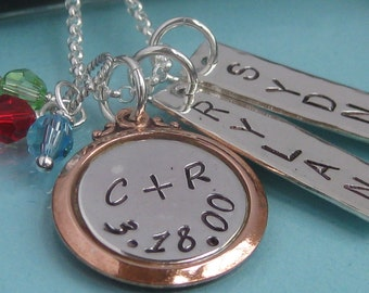 All in the Family- multi-tag, 2 name, sterling, stamped necklace
