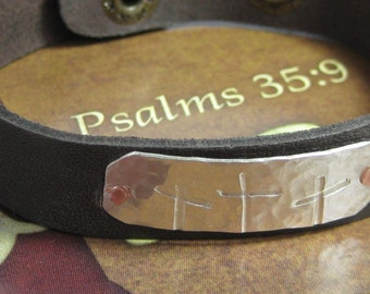 Rugged Crosses 1/2 inch-sterling, copper, and leather cuff bracelet