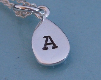 NEW Shapes- 1 small charm  Hand Stamped Single Initial Necklace- Children's or Adult version