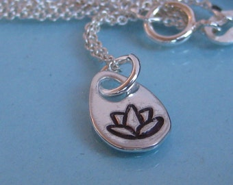 LOTUS- Small teardrop tag  Hand Stamped Single Charm Necklace