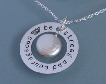 Be Strong and Courageous pendant handstamped necklace