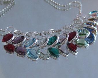 ADD ON- Swarovski crystal 6mm round channel set in silverplate BIRTHSTONE colors