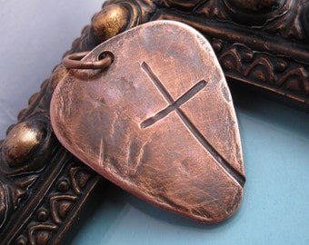 Ol' Rugged Cross Heavy COPPER or BRONZE  Guitar Pick Style Men's Necklace