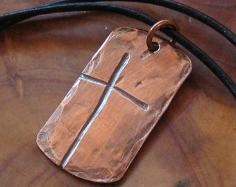 Ol' Rugged Cross Dog Tag Style Men's Copper Necklace