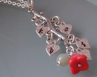 My Family Tree Silver Branch Stamped Initial Pendant Necklace- NEW DESIGN OPTION