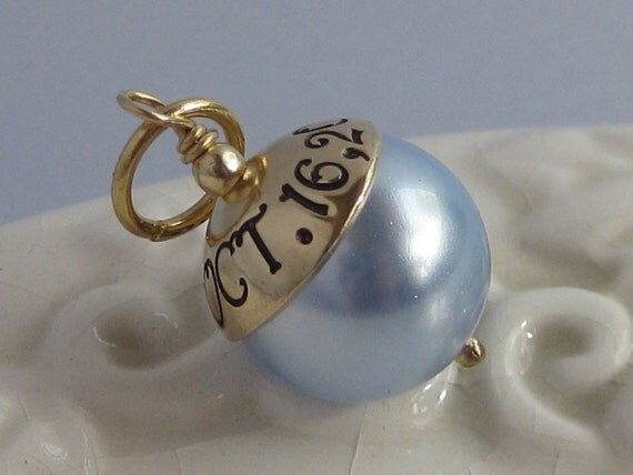 SOMETHING BLUE- HAND STAMPED WEDDING CHARM- GOLD