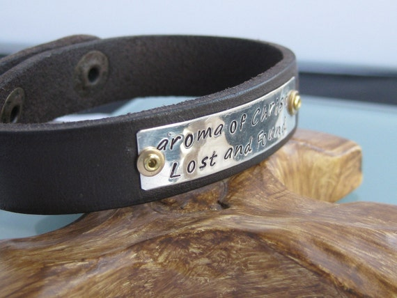 1/2 inch-sterling, copper, and leather cuff bracelet - custom name or saying