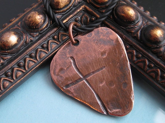Ol' Rugged Cross Heavy COPPER Guitar Pick Style Men's Necklace