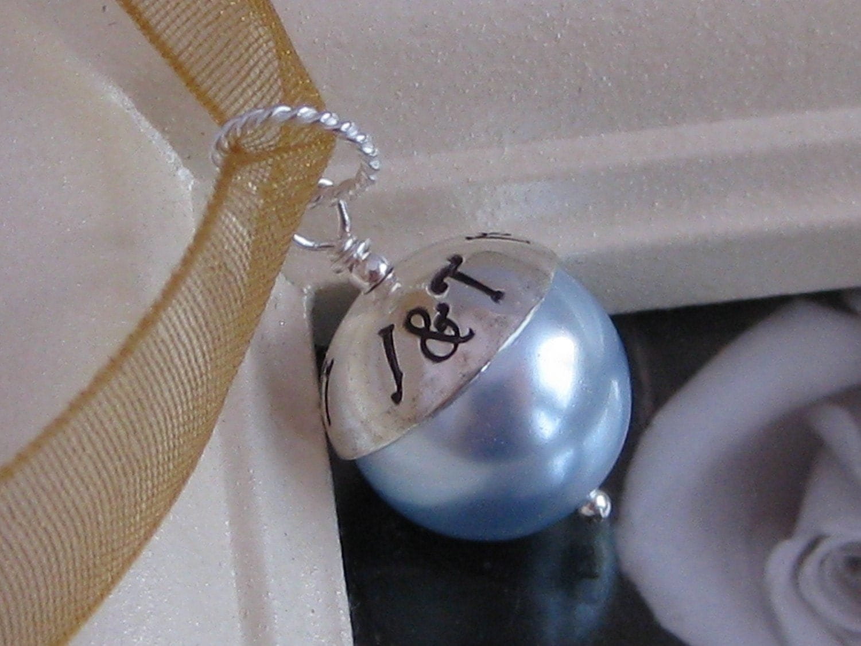 Blue Bridal Bouquet Charm : Something blue custom handstamped wedding bridal bouquet