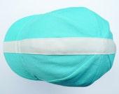 Cotton Cycling Cap - Aqua with Cream Ribbon