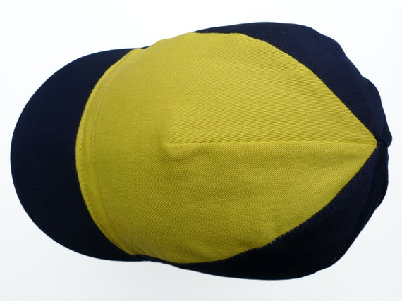 Cotton Cycling Cap in Navy and Chartreuse Green for on or off Bike