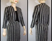 Vintage 40s 50s Skirt Suit / Striped Bolero Jacket / Black & Gray / XS S