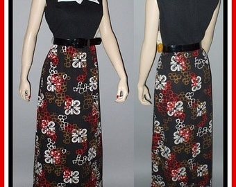 Vintage 70s Maxi Dress / Geometric Print / New With Tags / M