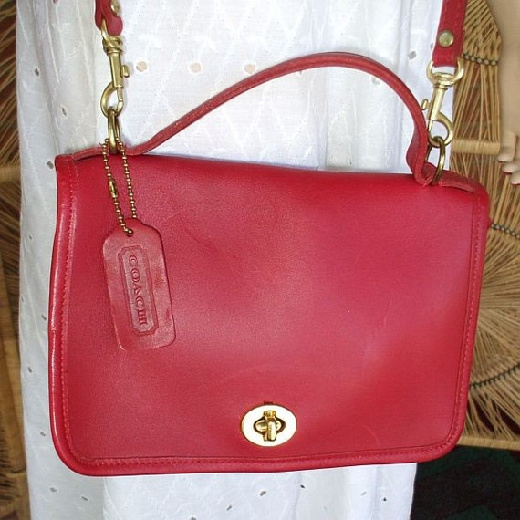 Vintage Coach Red Leather Purse Handbag Cross Body Bag