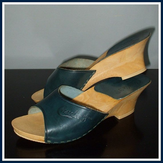 Vintage 70s Candieu0026#39;s Navy Blue Shoes Mules El Greco Italy