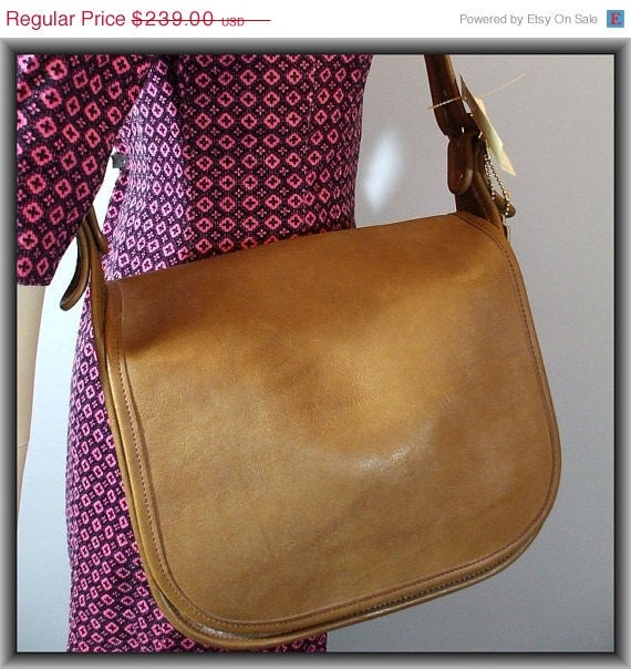 ON SALE 70s Coach Purse / New With Tags / Leather Handbag / Vintage 1970s Deadstock