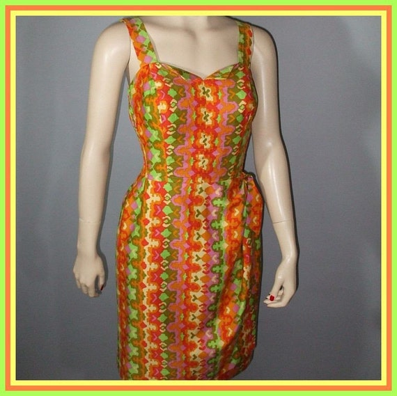 Vintage 50s Dress / Pinup Fitted Sarong / Geometric Print