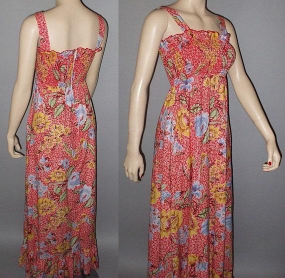 Vintage 70s Maxi Dress Smocked Bodice Floral Print Sundress S M