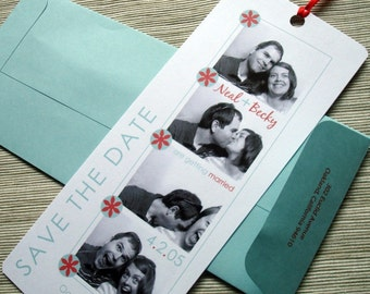 Photobooth Wedding Save the Date Photo Booth Film Strip Bookmark with Ribbon - DESIGN FEE